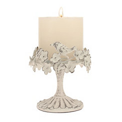 Antique White Floral Bird Pillar Candle Holder