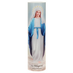 Our Lady of the Miracle LED Prayer Candle
