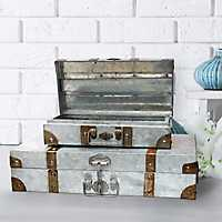 Galvanized Metal Suitcases, Set of 2