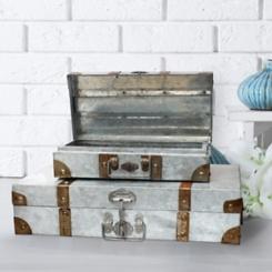 Galvanized Metal Suitcases, Set of 2