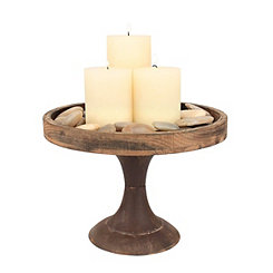 Rustic Wood and Metal Pedestal Tray, 9 in.