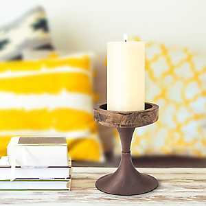 Rustic Wood and Metal Pedestal Tray, 8 in.