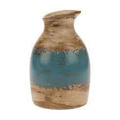 Weathered Turquoise and Brown Ceramic Vase