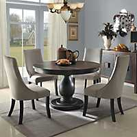Round Distressed Brown Dining Table