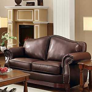 Dark Brown Bonded Leather Loveseat