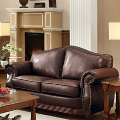 Dark Brown Bonded Leather Loveseat
