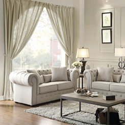 Ivory Button Tufted Loveseat