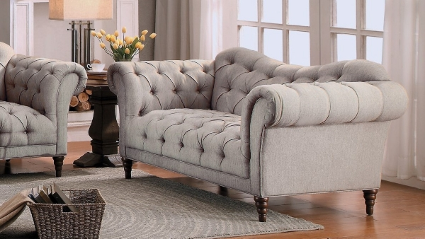 beige button tufted rolled arm loveseat