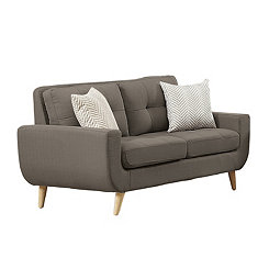 Gray Tufted Mid-Century Loveseat