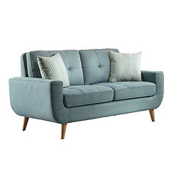 Teal Tufted Mid-Century Loveseat