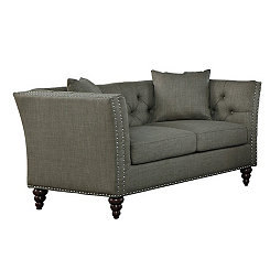 Dark Taupe Button Tufted Loveseat