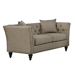 Tan Button Tufted Loveseat