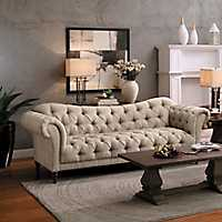 Beige Button Tufted Rolled Arm Sofa