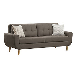 Gray Tufted Mid-Century Sofa
