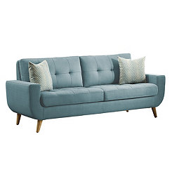 Teal Tufted Mid-Century Sofa