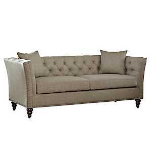 Tan Button Tufted Sofa