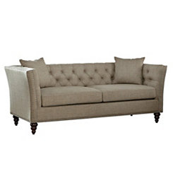 Tan Button Tufted Sofa
