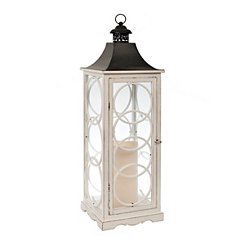 White Wood Circles Lantern
