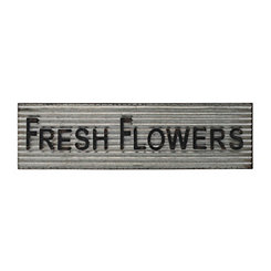 Fresh Flowers Metal Sign Plaque