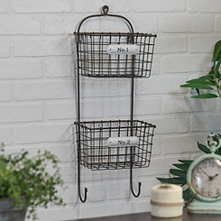Double Bin Metal Wall Organizer