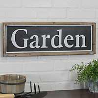 Garden Wood and Metal Sign Plaque