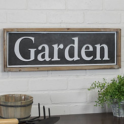 Garden Wood and Metal Sign Plaque