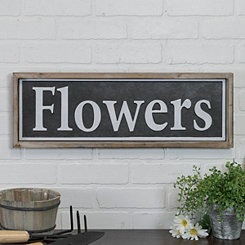 Flowers Wood and Metal Sign Plaque