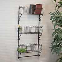 3-Tier Open Metal Wall Shelf
