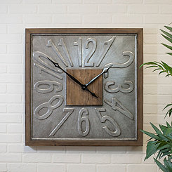 Square Wood and Metal Wall Clock