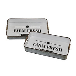 Metal Farm Fresh Trays, Set of 2