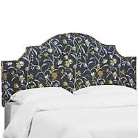 Navy Floral Whisp Upholstered Queen Headboard