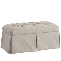 Gray Skirted Velvet Storage Bench