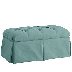 Caribbean Blue Skirted Velvet Storage Bench