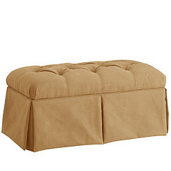 Honey Skirted Velvet Storage Bench
