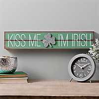 Kiss Me I'm Irish Galvanized Shamrock Plaque