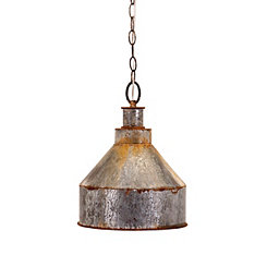 Weathered Galvanized Metal Pendant Light