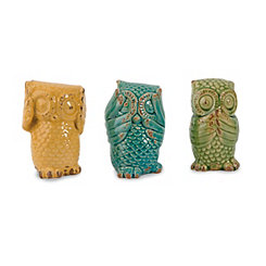 Wise Owl Statues, Set of 3