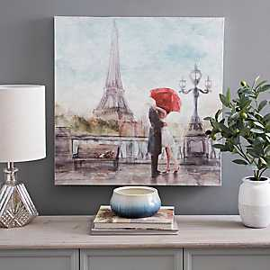 Red Umbrella Eiffel Tower Canvas Art Print