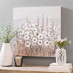 White Flowers in Bud Canvas Art Print