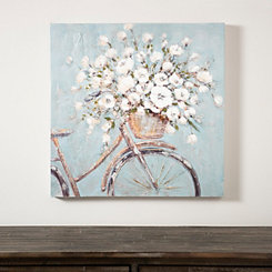 Flower Basket on Bike Canvas Art Print