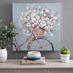 Flower Basket on Bike Canvas Art Print