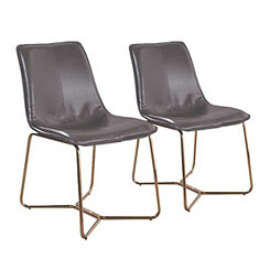 Gray Faux Leather and Gold Dining Chairs, Set of 2
