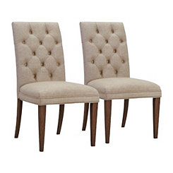 Sand Stella Button Tufted Dining Chairs, Set of 2