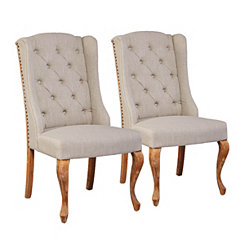 Natural Avery Wingback Dining Chairs, Set of 2