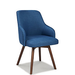 Blue Mid-Century Swivel Accent Chairs, Set of 2