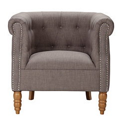 Ash Barrel Chair with Nailhead Trim