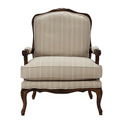 Natural Stripe Bergere Chair