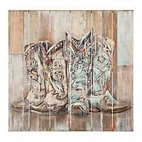 Cowboy Boots Slatted Wood Art Print