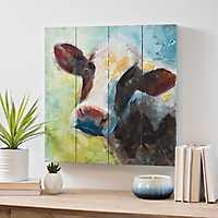 Colorful Cow Wood Art Print