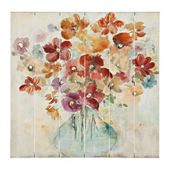 Bright Flowers in Vase Slatted Wood Art Print